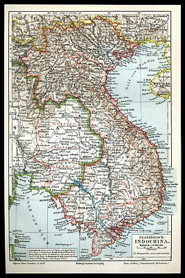 Orig. Lithographie-Tafel 1905 Französisch-INDOCHINA Union Indochinoise Old Map
