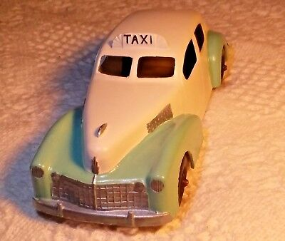 Vintage Hubley Die-cast Taxi Car with Tin Chassis Marked 7""