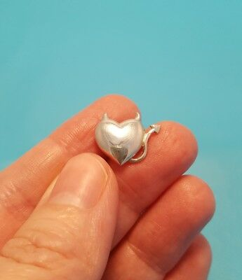 Super Cute Shiny Heart With Devil Ears Tail Sterling Silver Slide Pendant 925