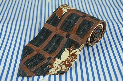 Hugo Boss Men's Tie Gray Brown & Ivory Floral Printed Silk Necktie 56 x 3.75 in.