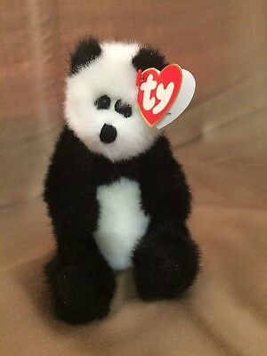 beb5301759a 1993 TY Attic Treasures CHECKERS the Black and White Panda Bear