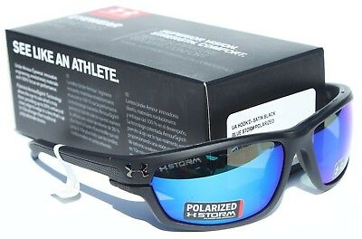 88f2d257d38 UNDER ARMOUR Hook d POLARIZED Sunglasses Satin Black Blue Storm Fishing NEW   170