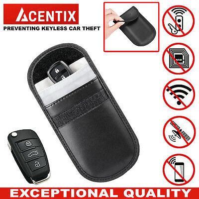 ACENTIX Keyless Car Key RFID Signal Blocker Faraday Bag Pouch Fob Leather Case