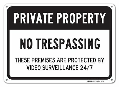 "No Trespassing Sign - Private Property Sign, Large 10x14"" Aluminum, For Indoor o"