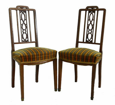 Pair French Side Chairs c1910 upholstery to restore & recover Lattice Dining