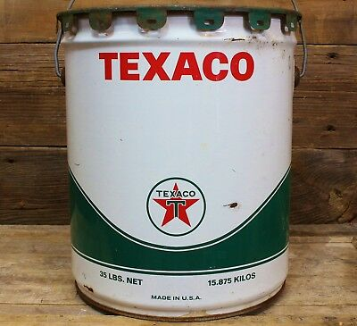 Vintage 1967 TEXACO Gas Station 5 Gallon 35 Pound Oil Grease Can w/Cover