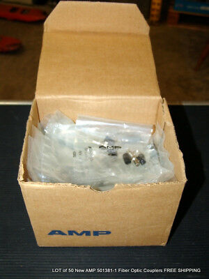 LOT of 50 New AMP 501381-1 Fiber Optic Couplers FREE SHIPPING