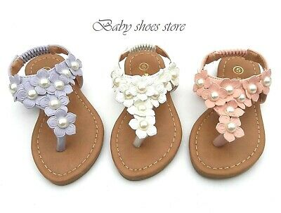 New Baby Toddler Kids Girls flower thong sandals size 1-6