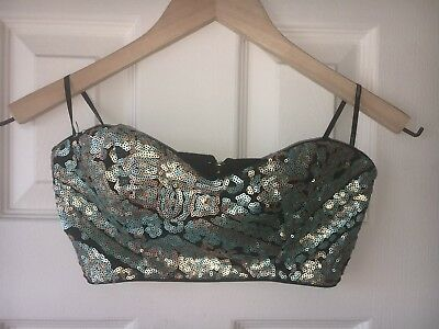 e17949e5557551 Forever 21 Black Zip Up Bralette with Turquoise and Gold Sequins Size S
