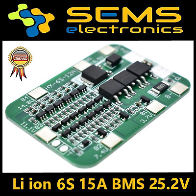 BMS 6S 15A Li-Ion LiPo Battery 18650 Charger Protection Board 24V Balancer