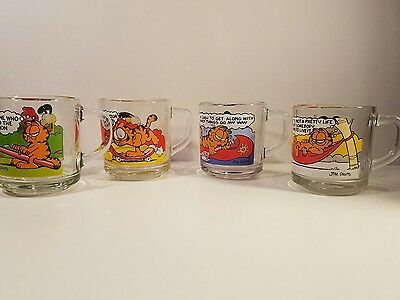Vintage Garfield McDonalds Coffee Mugs Cups Lot of 4 Clear Glass Cartoon 1978