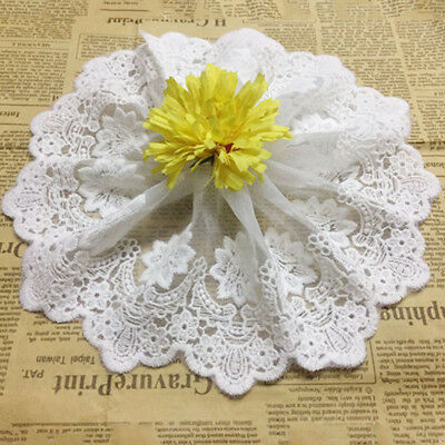 Floral Embroidered Cotton Lace Edge Trim Fabric Tulle Mesh Craft Ribbon Sewing
