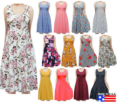 USA Women's Sleeveless Flowy Midi Summer Beach A Line Tank Dress S M L 1X 2X 3X