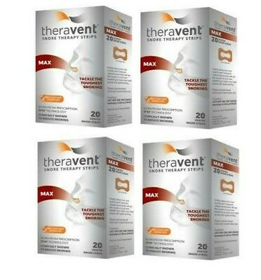 Theravent Snore Therapy Strips, MAX - Set of (4) 20 ct = 80 Total!