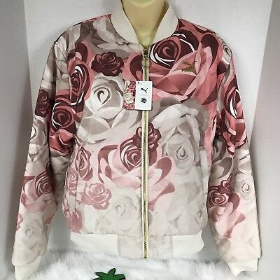 0f583d86b NEW PUMA X Careaux Reversible Bomber Pink Champagne Flowers Women's Large  NWT