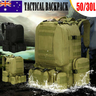 Outdoor 4In1 50/30L Hiking Camping Bag Army Military Tactical Rucksacks Backpack