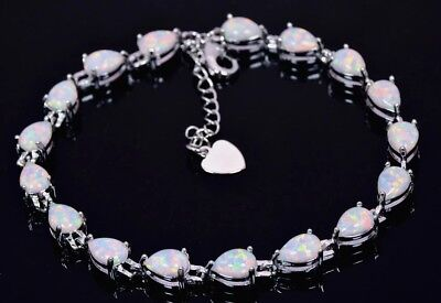 Lovely 925 Sterling Silver Tear Drop White Fire Opal Tennis Bracelet 18cm