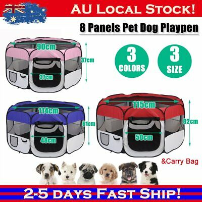 8 Panel Portable Puppy Dog Pet Cat Playpen Crate Kennel Tent Play Pen QH