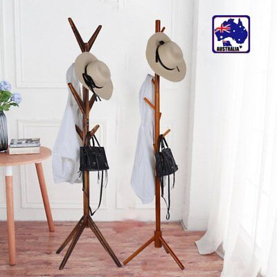 Tree Style Coat Stand 8 Hooks Multi Coat Hat Rack Bag Rack Tree Style Wooden BG