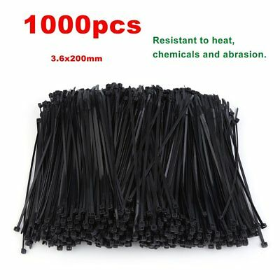 1000 PCS Nylon Zip Ties 3.6x200mm Bulk Cable Ties Self-Locking Cable Fastners
