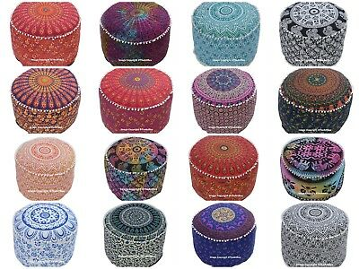 Indian Mandala Cotton Footstool Pouf Cover Ethnic Ottoman Pouf Cover Home Decor