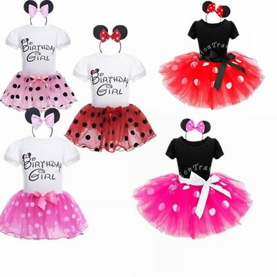 Minnie Mouse Baby Girls Dress Toddler Kids Tutu Tulle Skirt Clothes Party Outfit