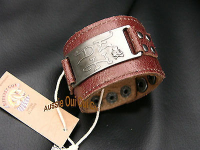 Don Ed Hardy vintage Bikie leather wristbands cuffs NWT authentic items