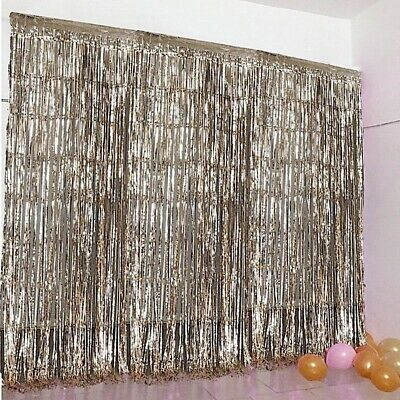 CHAMPAGNE Sparkling Metallic FOIL CURTAIN 3 ft x 8 ft Party Wedding Decoration