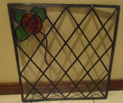 ORIGINAL LEADLIGHT HANDMADE STAINED GLASS PANEL WINDOW -THE WALL FLOWER 44cmx42