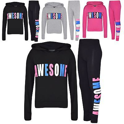 Kids Girls Tops Awesome Print Hooded Crop Top Legging Lounge Wear Set 7-13 Years