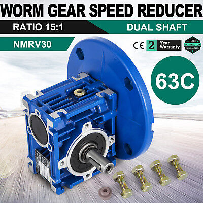 Worm Gear 15:1 63C Speed Reducer Gearbox Dual Output Shaft New Durable Update