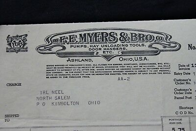 Vintage Ashland Ohio FE Myers & Bros Receipt Invoice Bill Sale 1944 Tools Bill