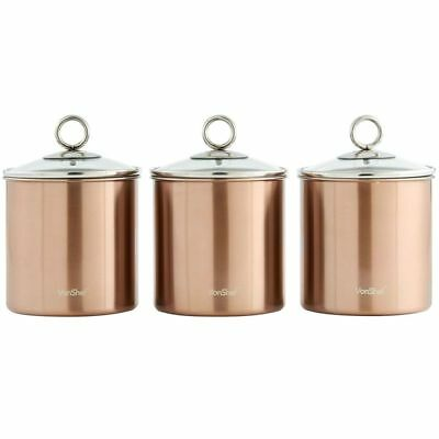 Kitchen Canister Set Stainless Steel Glass Lid 3 Piece Coffee Sugar