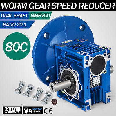 NMRV050 Worm Gear 20:1 80C Speed Reducer Gaerbox Dual Output Shaft W/Flange Pro