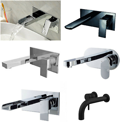Modern Chrome Modern Tradition Wall Mounted Bathroom Basin Sink Lever Mixer Tap