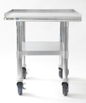 "NAKS 24""x27"" 16 Gauge Stainless Steel Equipment Stand w/ Undershelf and Casters"