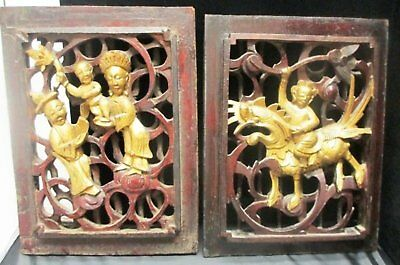 pair of LARGE 18th century antique hand carved wood Chinese wall panel sculpture