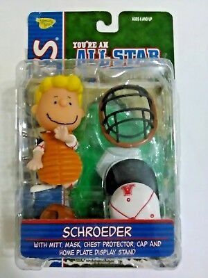 Peanuts All Star Charlie Brown Schroeder Mitt Mask Chest Protectr Cap Stand (A)