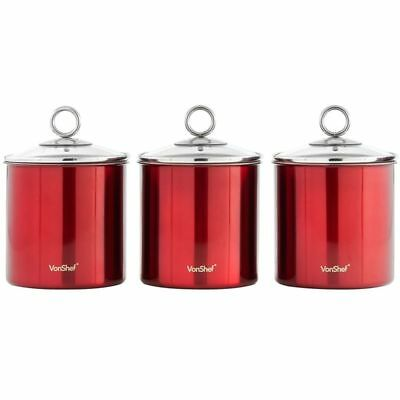 Kitchen Canister Set Red Stainless Steel W Gl Lid 3 Piece Sugar Storage Jars