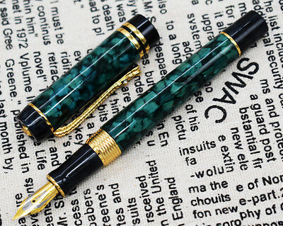Crocodile Green Marble Celluloid Fountain Pen 22KGP Medium Nib Alligator Clip