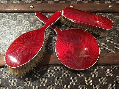 Gorgeous Art deco red Guilloche enamel & silver brush set Bham 1914