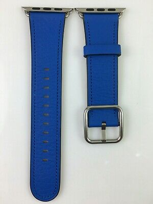 Original Apple Watch Band silver Classic Buckle Natural leather Blue Strap OEM