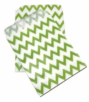 """6-24 pieces Turquoise green diagonal stripe 5x7/"""" flat paper bags gift treat"""