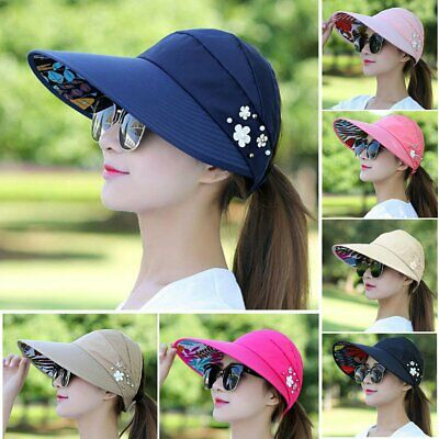 af8338c6969 Brand New Women Visor Hat Summer Sun Beach Ladies Foldable Roll Up Wide Brim  Cap