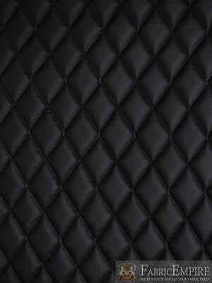 """Vinyl Grain Texture BLACK Fabric Quilted2""""x3""""Diamond 3/8""""Foam Upholstery52""""w/BTY"""