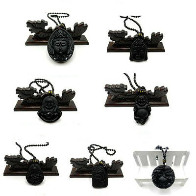 Chinese Natural Black Obsidian Hand Carved Buddha Lucky Pendants+Bead Necklace