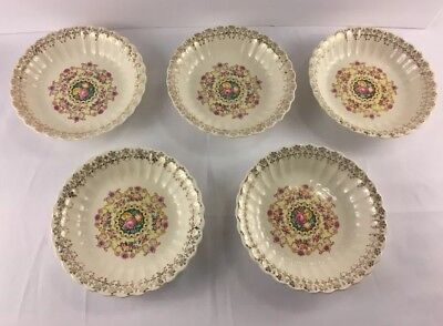 American Homes Limoges Warranted 22k Gold Melody Lot Of 5 Salad Bowls 8 Inch