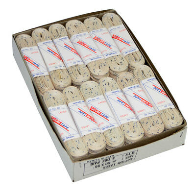 """Box of 36 pairs of Ice or Roller Skate Laces 84"""" cream with blue fleck"""