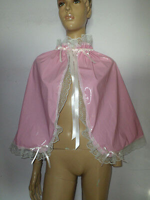 Adult Baby Sissy Light Pink Pvc Cape  Frilly  Satin Ties + Bows White Lace Trim