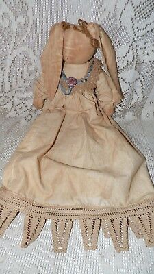 Antique Vintage Folk Art Stuffed Rabbit Doll Lace Rose Ribbons Wearing Gown